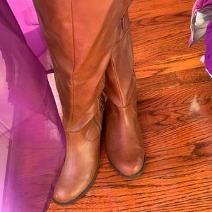 Shoes - Tan flat knee high riding boots